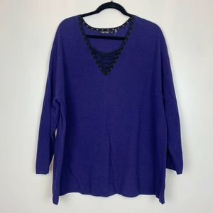 Nordstrom's Nic & Zoe Lace Up Sweater 2X Purple
